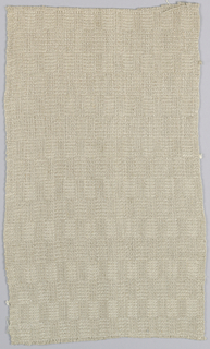 Beige length woven with a checkered effect made by shiny and dull surfaces of alternately warp and weft-surfaced areas. Two long selvages continuous with field.