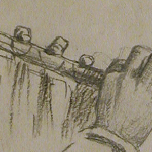 Study of two hands holding a flute.