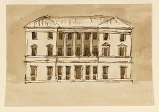 Drawing, Elevation of a Town Mansion, 1790–1809