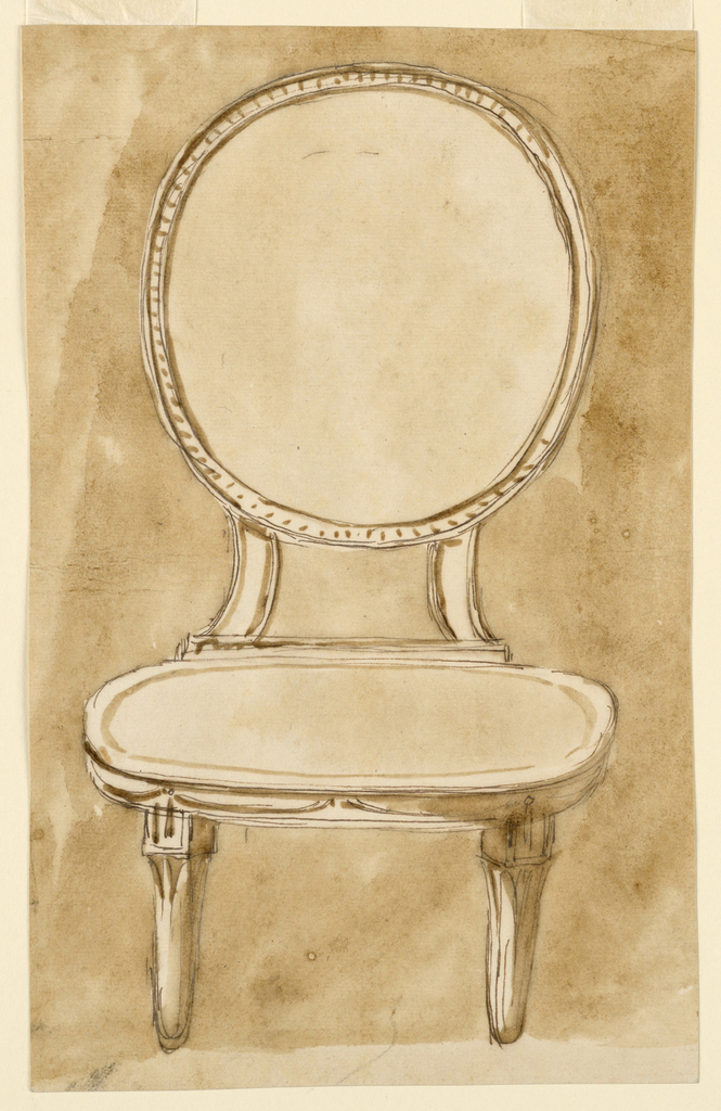 Frontal view of a side chair with an oval back connected to an oval seat with addorsed C-curves, and standing on tapered legs.