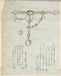 Design for a necklace. The chain around the neck consists of alternating ovoidal and rhomboidal gems which are connected in the middle by chains of beads. Written below the ink, an Italian inscription.