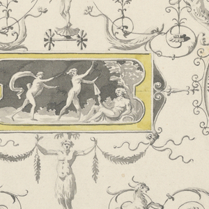 Corner of ceiling shown. Panels divided by garlands. Within a field of grotesques is a tablet with showing a frieze with figures. To the right of this, a roundel with a figure of a woman.