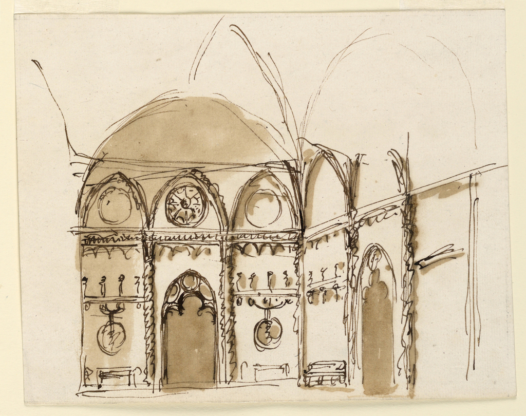 Drawing, Interior of a Gothic room