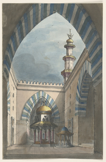 Vertical rectangle. View through tiled arch on court of Islamic building with decorated fountain in bright colors at center. Tower at right.