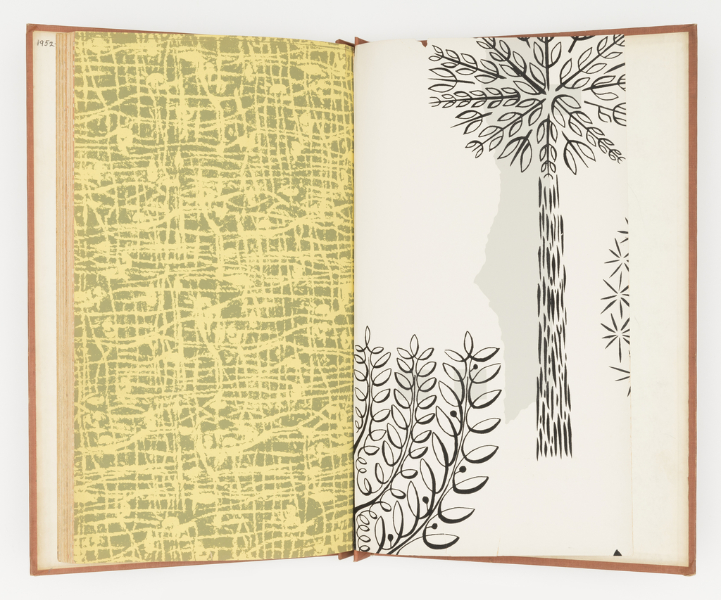 Includes, with color alternates, the following wallpapers: Trees, Twine, Broken Ladder, Checks, Round, The River, Deep Water, Lakatoi, Dandelion, Chameleon, Intracte, Singora Sail, Talisman. The book is setup to show the papers in pairs, in  color coordinating sets of companion papers.