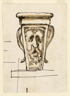 Below is an outlined molding, above a square and a round molding. In the front panel is the mask of a satyr, whose horns project laterally. Some strokes form other sketches.