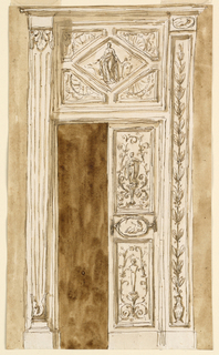 Drawing, Door with overdoor