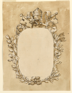 Vertical rectangle. The oval tablet is framed by crossed stems springing from the mouth of a mask below. Above are the crossed keys and the tiara. Slight sketching in the tablet. Usual background.