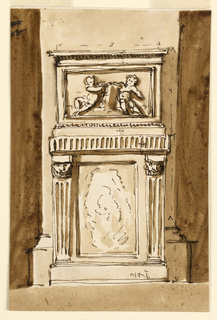 Drawing, Pedestal and base of a pillar