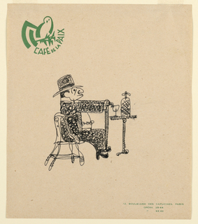Drawing, Caf  de la Paix: Man with, 1963