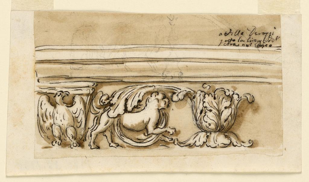 Drawing, Entablature of an altar in Villa Derossi