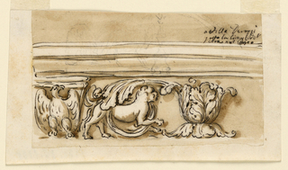 Drawing, Entablature of an altar in Villa Derossi