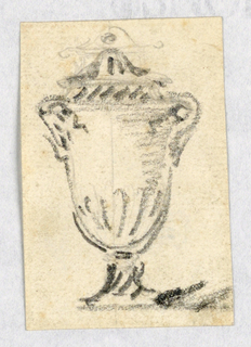 Vertical rectangle with loose sketch of an urn.