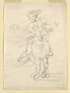 Riding through the country. Seen from the front. Her hair is blowing toward right, her overcoat toward left. Her left hand points to the right, her right supports the sword placed across the neck of the horse. Framing graphite line, except at left. Parts of outline are deeply impressed.