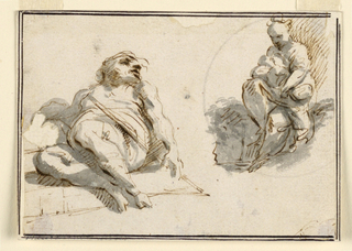 At left, a sleeping man with his feet toward the viewer. At right, the woman. Probably sketches for a rest during the flight to Egypt.