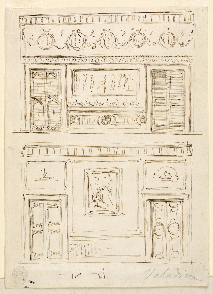 Page divided into two designs. At top, a wall with two sets of doors connected by a dado. Above an entablature with rinceaux. Below, a room with two sets of doors. Above these, dentil molding.