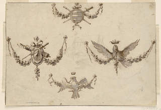 Horizontal rectangle showing design for four festoons. At top, a shield with crossed swords; at center left, a fasces and shield; at center right, a resplendent crowned eagle; at bottom, a perched crowned eagle. Verso, in pen and ink: the top of a hill and garden.