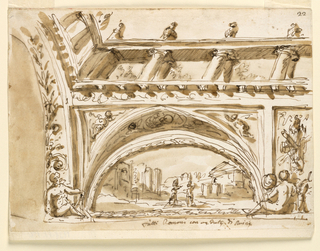 Horizontal rectangle. A variation of the scheme of -1534. The arch is decorated with one half of a plant. A mean is seated below, holding a compass. The panel in the center shows a trophy. The painting represents a scene of Roman history in a setting of ruins.