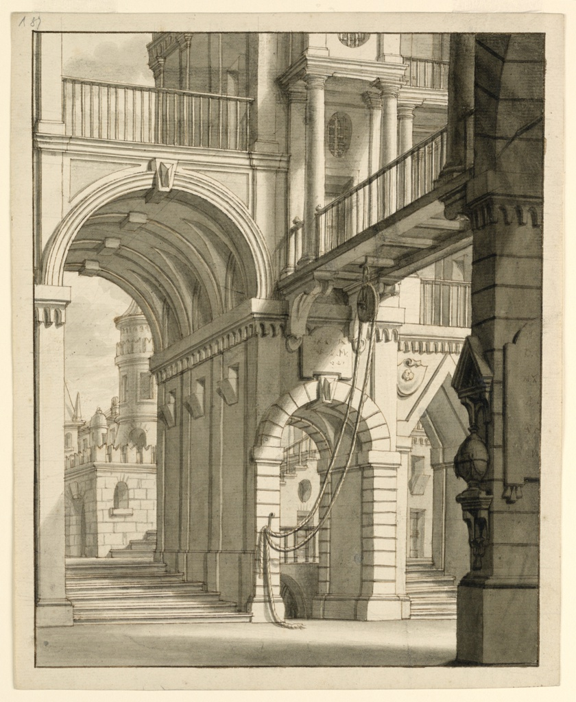 Drawing, Entrance to a Palace, with a Pulley