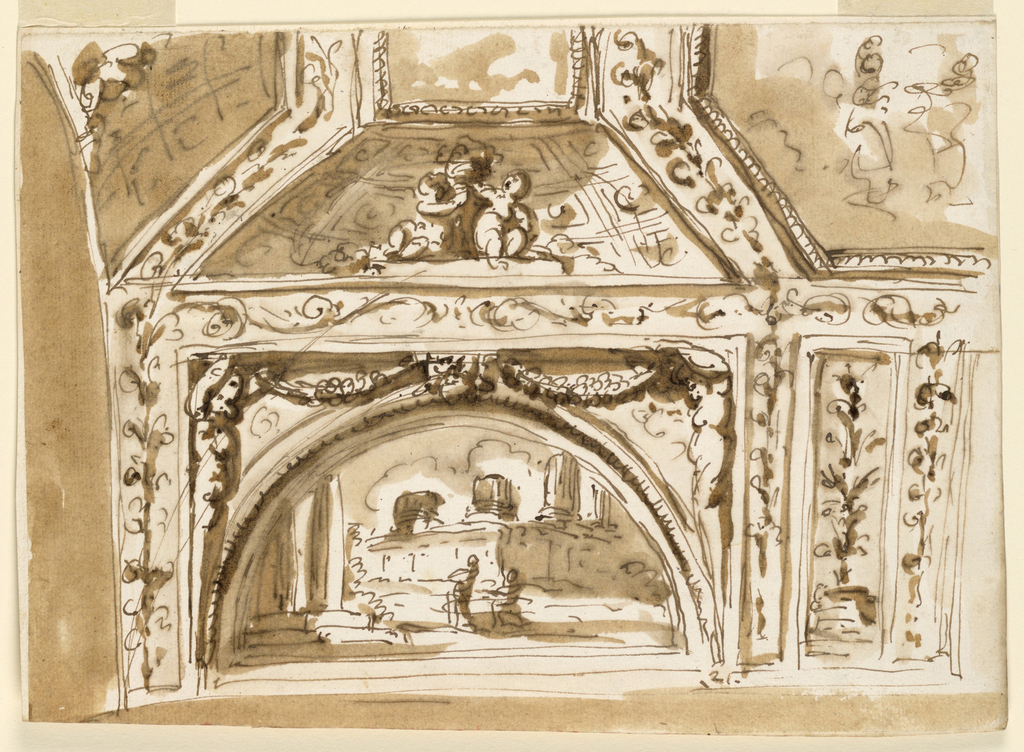 Horizontal rectangle. The design of the oblong with the ruined painting is similar to that of -1538. It is framed by ramifications of a band, framing alos the oblong panels with plants forming the central motifs in the lower section. An octagonal painting is suggested for its center; square paintings flanked by groups of children in conchiae, and parts of coffered vaults for the lateral parts.