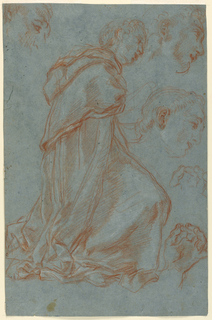 Recto: a monk or priest is shown turned toward the right, in profile. In the upper left corner, a study for a part of the head, and two more head studies beside, at right. Below are two studies for a left hand shown from the palm with thumb and forefinger touching each other.  Verso: twice, the right arm of a woman in profile, her hand holding drapery.  A study for the hand. Below, at left, a left hand holding a stem.