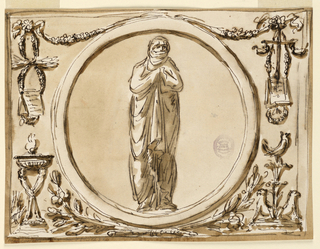 Horizontal rectangle. In the center is a circular frame with a woman wrapped in a coat, so that only the nose and the eyes are unprotected, possibly representing Winter. Above are festoons from which entwined garlands hang. On both sides a paper with an inscription is put upon a slope. The motif at right includes two oil lamps. Below at right is a bird standing upon two chalices, with two griffins sitting below upon a base. At left is a tripod; two legs supporting the bowl of a lamp are visible. Below the circle are crossed branches. (RB '45)  Roundel with a vestal, flanked by grotesques, for decoration over mirror, noble cabinet, Palazzo Altieri. (PDM '91)