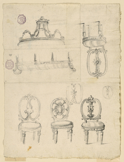 Lower page shows three chair designs with round backs and pierced legs. More sketches at top of page with inverted orientation.
