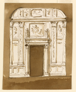 Drawing, Door wall elevation