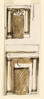 Drawing, Two elevations of a doorway