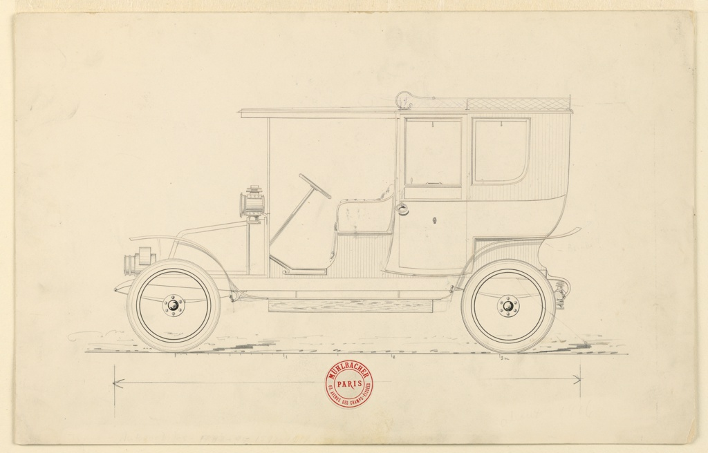 """Horizontal rectangle. Design for a closed automobile, of a type known as a Brougham Phaeton, seen in left profile. Scale given below, and stamp: """"Mühlbacher 63 Avenue des Champs-Elysées, Paris."""" Body probably intended to be put on a Renault chassis."""