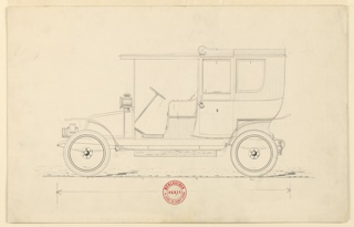 "Horizontal rectangle. Design for a closed automobile, of a type known as a Brougham Phaeton, seen in left profile. Scale given below, and stamp: ""Mühlbacher 63 Avenue des Champs-Elysées, Paris."" Body probably intended to be put on a Renault chassis."