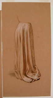 Vertical rectangle. Study of the drapery of a woman's skirt, seen from the back.