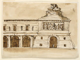 Drawing, Fortified corner block of a long colonnaded structure