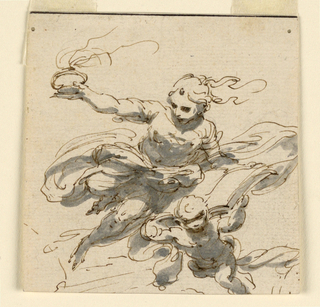 A flying woman raises an urn with her right arm, the left upon a book which is also supported by a putto. A fire is burning in the bowl.