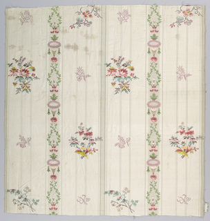 Striped white taffeta with small-scale floral sprays brocaded in polychrome silks.
