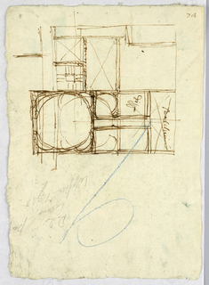 Drawing, Plan of hospital of Trinita de Pellegrini