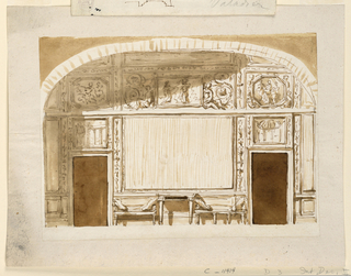 Drawing, Entrance wall with vaulted ceiling