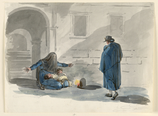 A woman similar to that plate 19, loc. cit., having a child in her lap and another crouching beside her. A burning lamp stands between her and the man who is shown walking toward her from the left back side.