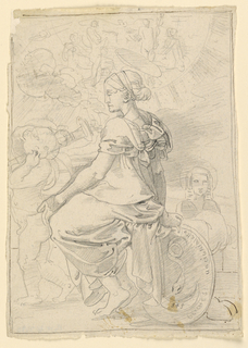 The Virgin is seated in the background, facing left in profile. Her right hand rests on a shield bearing a serpent over a crescent moon, on which are inscribed three stylized lower-case F's. Another inscription around border of shield. With her left hand, she gently pushes the nude Child, who carries a torch. A group of figures above, enclosed in the half-circle of the moon. Surrounded by rays of light.