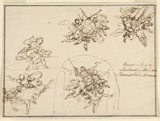 Above at left: a woman as a sculptor. At right: a group of four flying putti with a globe. At right: similar group with a book. Below: a group of four putti, and a fifth one with objects; the five putti are in a hall with columns, framed within an oval.