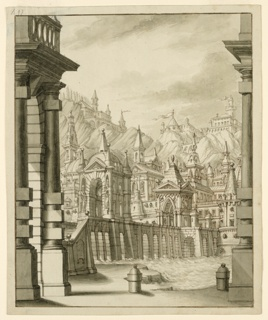 Drawing, Stage Design, Town on Hill with Turreted Buildings
