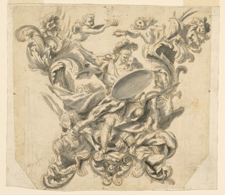An allegorical warrior with a spear and shield decorated with a sun vanquishes figures at his feet. Accompanied by eagle, putti and swirling acanthus leaves.