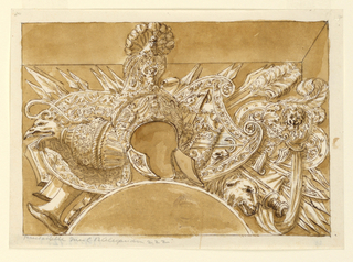 Horizontal rectangle showing a design for a military trophy. At center, a helmet in the antique style with a feathered crest. Below are two large shields and clusters of spears. At left, an eagle headed ewer; at right, a ram's head.