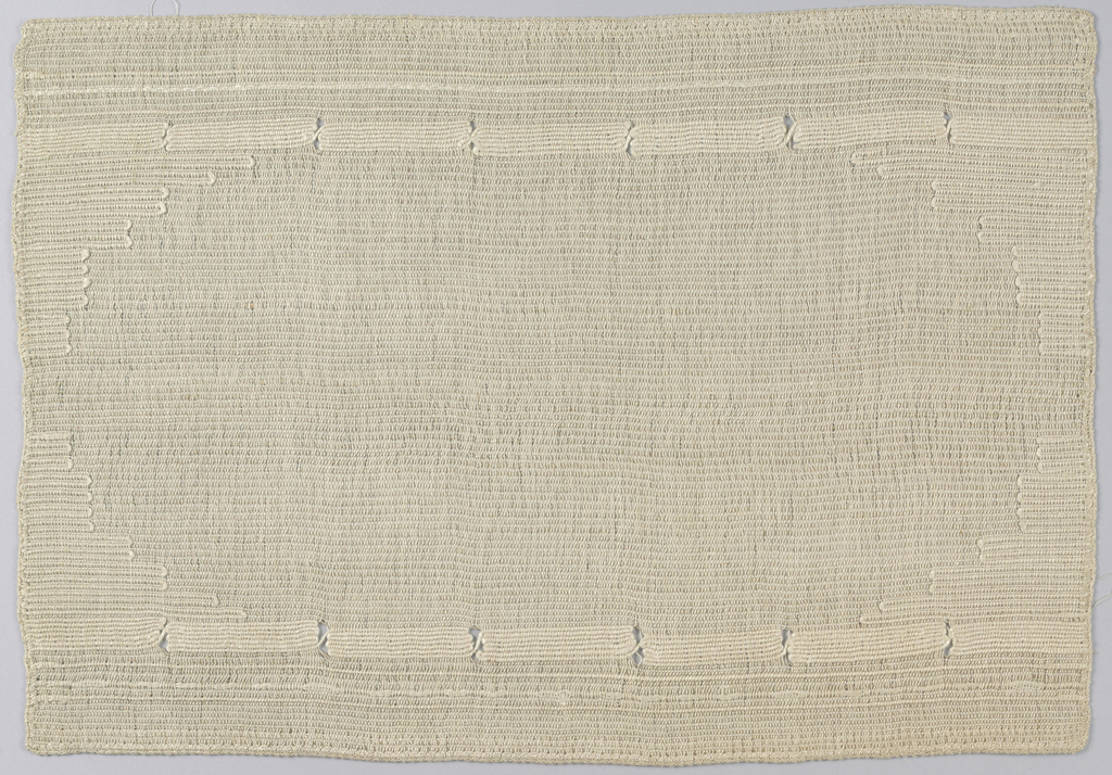 Dark linen cloth with lighter border stripes made by heavier weft threads.