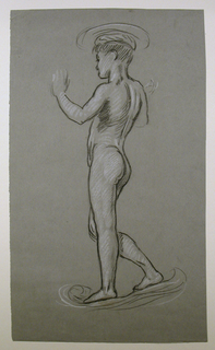 Vertical rectangle. The nude figure of a boy, standing, facing left. The arms are uplifted, the hands incompletely indiciated. Basin on boy's head and pedestal are suggested.