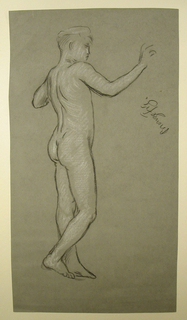 """Vertical rectangle. The nude figure of a boy, standing, facing right in profile. The arms are uplifted. Inscribed at right, in black crayon: """"bronze fig."""""""