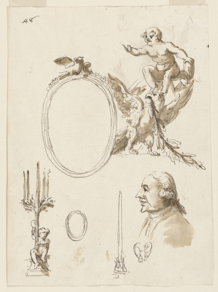 The right side is shown. On top of an ovoidal frame are an eagle and a garland. beside it stands an eagle with displayed wings; it carries a laurel branch in the mouth. Above it sits a child upon what probably is a neck. Bottom row: at left, a child sits upon a pedestal and carries a tree with four candles standing upon branches. Center left: sketch for the ovoidal frame. Center right: sketch for a socket with a candle. At right: bust of a man with opened mouth, shown in profile, turned toward left. Below it is a small indistinct sketch.