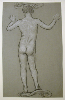 Vertical rectangle. The nude figure of a boy, standing, seen from the back. The arms are uplifted, the hands indicated briefly. Basin on boy's head, and pedestal, suggested.