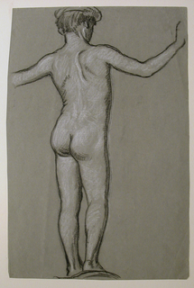 Vertical rectangle. The nude figure of a boy, standing, seen from the back, turned toward the right. The arms are uplifted, the left incompletely shown.