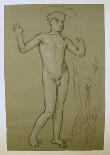 Vertical rectangle. The nude figure of a boy, standing, turned toward the right. The arms are uplifted. The boy's left hand incompletely indicated. Suggestion of basin on boy's head. Anatomical drawing of figure, right.